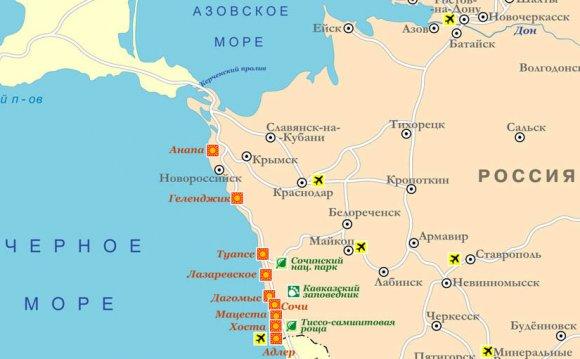 Карта курортов Черноморского