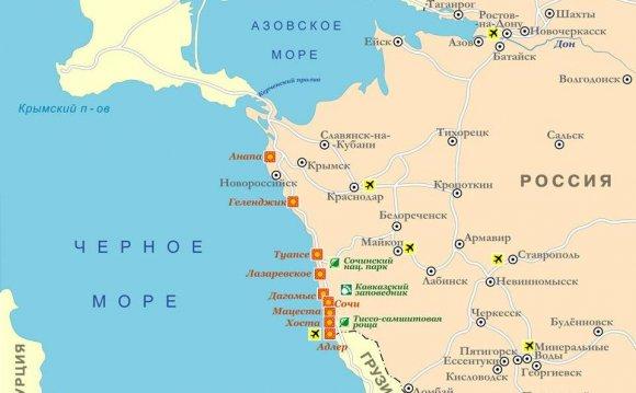 карте Краснодарского края